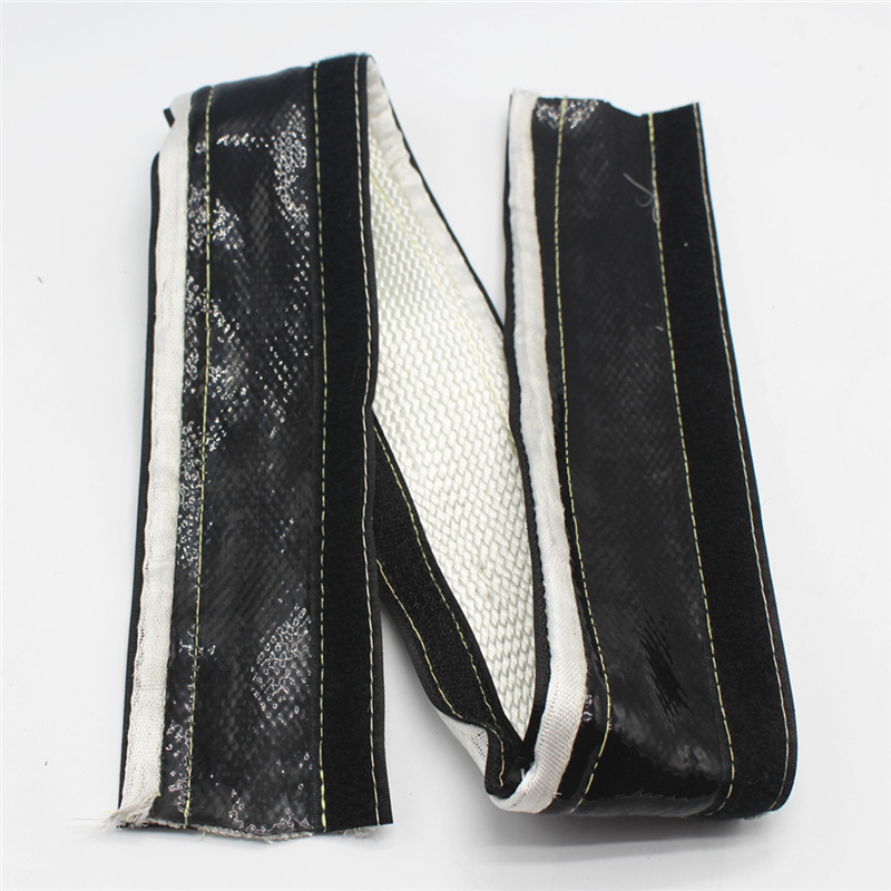 Silicone fiberglass heat shield sleeve with velcro